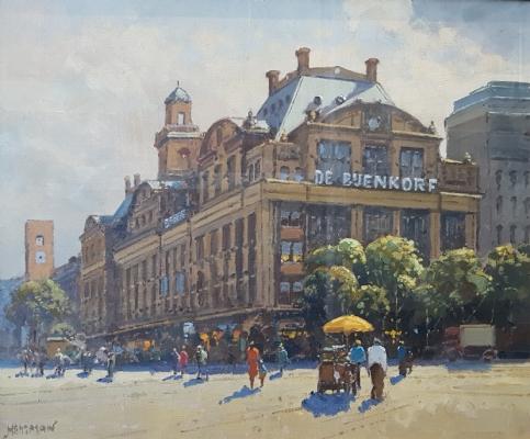 Willem  Heytman - Damrak met de Bijenkorf, Amsterdam