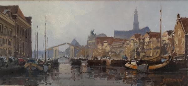 Heytman - Willem - Gezicht op de Grote of St. Bavokerk, vanaf de Turfmarkt